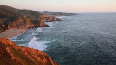 California coast at sunset — Stock Video