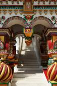 Richly decorated porch in the Russian style — Stock Photo