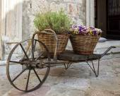 Old wheelbarrow with baskets of flowers — Stock Photo