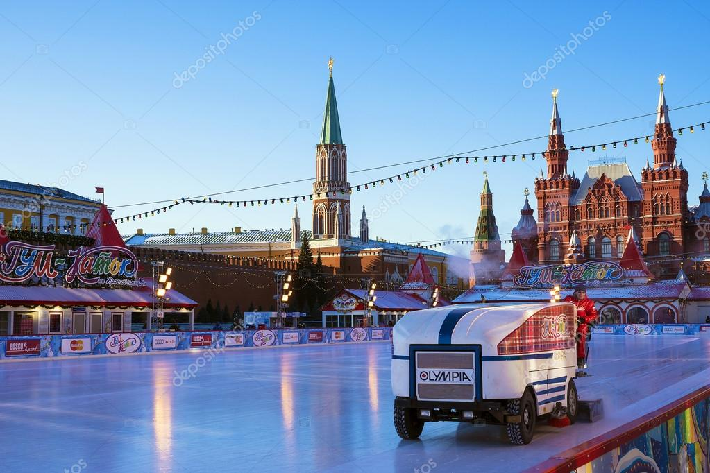 MOSCOW, RUSSIA - JANUARY 6: skating rink on Red Square in Moscow ...