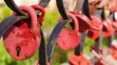Red heart-shaped locks — Stock Photo
