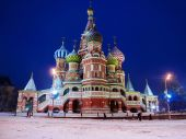 St. Basil's Cathedral in winter (snow storm), Russia — Stock Photo