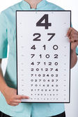 Oculist with a Snellen chart — Stock Photo