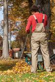 Gardener raking up — Stock Photo