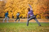 Woman in autumn glade — Stock Photo