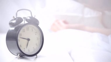 Alarm clock ringing at morning — Stock Video