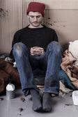 Sad and dirty homeless man — Stock Photo
