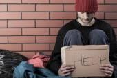 A homeless man need money  — Stock Photo