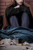 A homeless depressed man — Stock Photo
