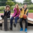Teenagers thumbs up at skatepark — Stock Photo #52500191