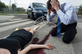 Driver killed female cyclist — Stock Photo