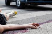 Unconscious woman at accident scene — Stock Photo