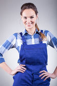Woman in handyman dress — Stock Photo