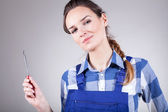 Woman holding screwdriver  — Stock Photo