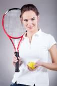 Pretty girl going for tennis — Stok fotoğraf