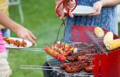 Grill party in a garden — Stock Photo