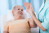 Senior with painful arm — Foto Stock