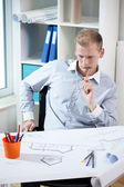 Architect concentrating on his work.  — Stock Photo