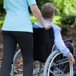 Nurse pushing elderly woman on wheelchair — Stock Photo #53556285
