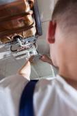 Plumber fixing gas water heater — Foto Stock