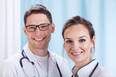Young doctors working in hospital — Stock Photo