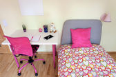 Girl's room with white desk — Stock Photo