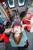 Paramedics using medical equipment — Stock Photo