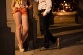 Man talking with prostitute — Stock Photo