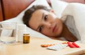 Medicines for ill woman — Stock Photo
