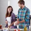 Making pizza in the kitchen — Stock Photo #54587691