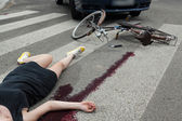 Killing accident on the pedestrian crossing — 图库照片