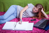 Teenager studying to exam — Stock Photo