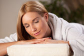 Woman in dressing gown in spa — Stock Photo