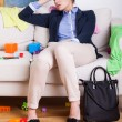 Tired mother after hard day at work — Stock Photo #56100111