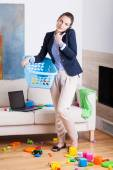 Being a businesswoman and young housekeeper — Stock Photo