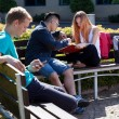 Diverse students spending time outdoors — 图库照片 #56389743