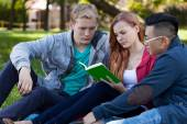 Multi-ethnic friends studying to exam — Stock Photo