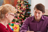 Grandson and grandmother talking — Stock Photo