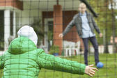 Playing football with father — Stock Photo