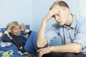 Rude son and his tired father — Stock Photo