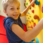 Happy boy on the climbing wall  — Stock fotografie #56480921