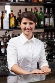 Young woman working at the bar — Stock Photo