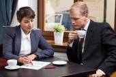 Business meeting in coffeehouse — Stock Photo