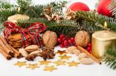 Christmas decoration on a beautiful table — Stock Photo