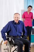 Happy old and disabled man — Stock Photo