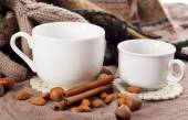 Close-up of two white coffee cups — Stock Photo