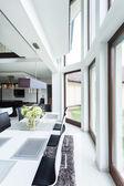 Dinning room in luxury apartment — Stock Photo