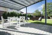 Beautiful patio with swing — Stock Photo