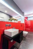 赤いタイルとデザイナーのトイレ — ストック写真