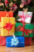 Presents underneath the tree — Stock Photo